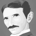 imagen caricaturizada en blanco y negro del inventor nikola telsa