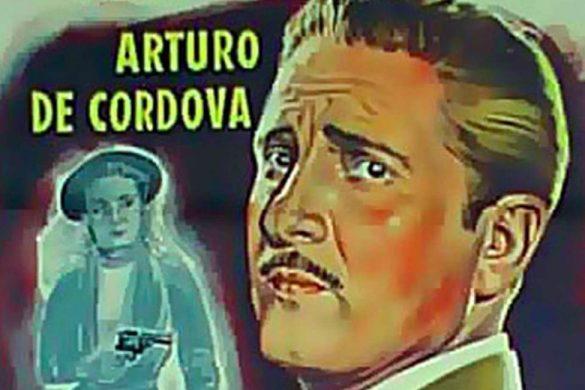cartel de cine en caricatura con el actor arturo de cordova y un mujer con un revolver