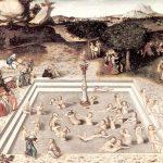 pintura de la antiguedad con mujeres dentro de una alberca o la fuente de la juventud