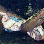 pintura de mujer en bosque recostada en hamaca teniendo los beneficios de dormir la siesta