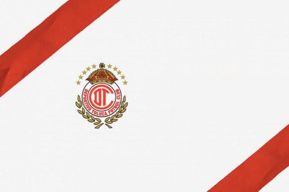 imagen con franjas rojas fondo blanco y escudo del equipo de futbol mexicano toluca