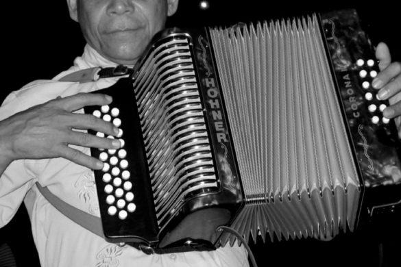 hombre de camisa blanca tocando un acordeon instrumento usado para tocar vallenato