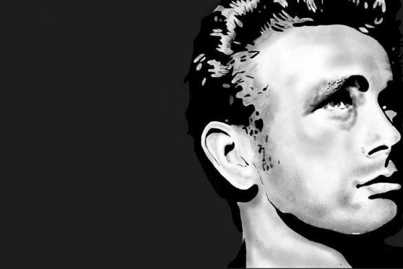 imagen con con fondo negro vectorizada en blanco y negro del actor james dean