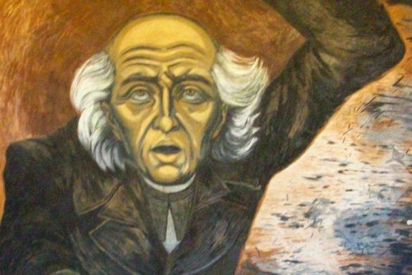 el rostro de miguel hidalgo realizado en una pintura heroe de la independencia de mexico