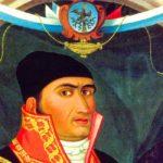 fotografia de una pintura de morelos heroe de la independencia con escudo de la bandera