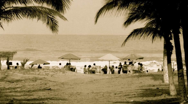 fotografia de una playa con palmeras gente sombrillas y el mar en el fondo