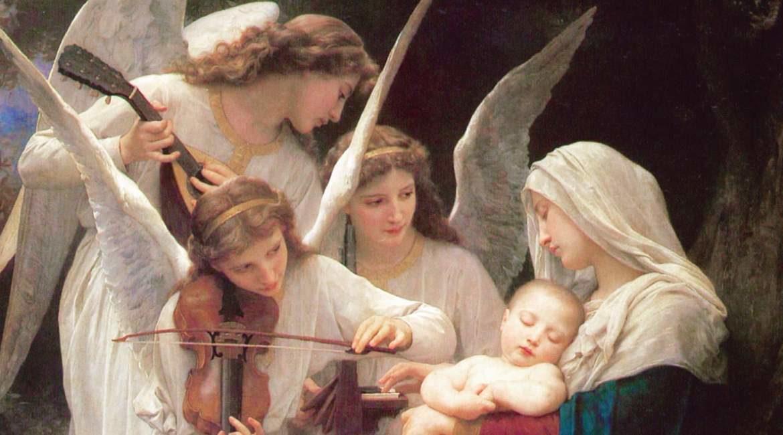 pintura de una madre con su hijo y tres angeles con ropa blanca tocando instrumentos