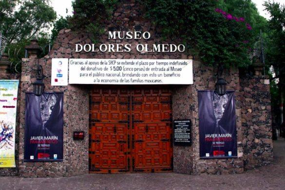 fotografia del museo dolores olmedo en la ciudad de mexico con flores y carteles