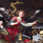 pintura antigua con angel y una persona durmiendo ilustrando los simbolos en tus suenos