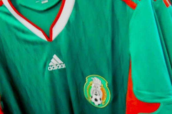 playera de futbol de seleccion mexicana color verde con rojo usada en el mundial de brasil