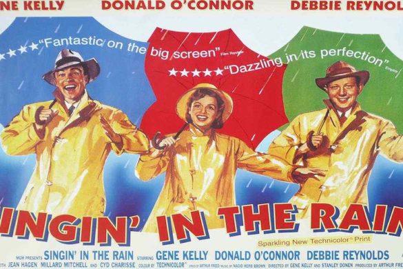 cartel caricaturizado de la pelicula cantando bajo la lluvia con tres de sus personajes