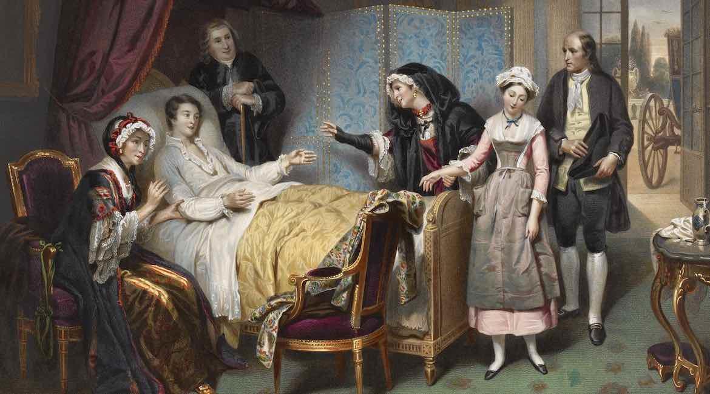 pintura antigua de una mujer en la cama enferma con cinco acompanates mas