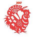 imagen de el ano del gallo del fuego en color rojo y figura de gallo horoscopos chinos