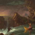 pintura al oleo sobre lienzo con rocas agua y arboles sobre el significado de tus suenos