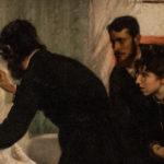 pintura de cinco personas de pie y vestidas de negro junto con una mujer de blanco en cama