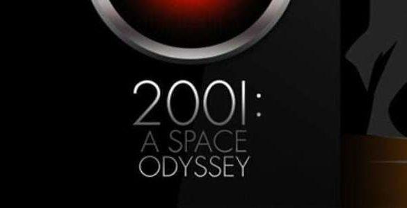 imagen del cartel en negro y plata de la pelicula odisea en el espacio del ano dos mil uno