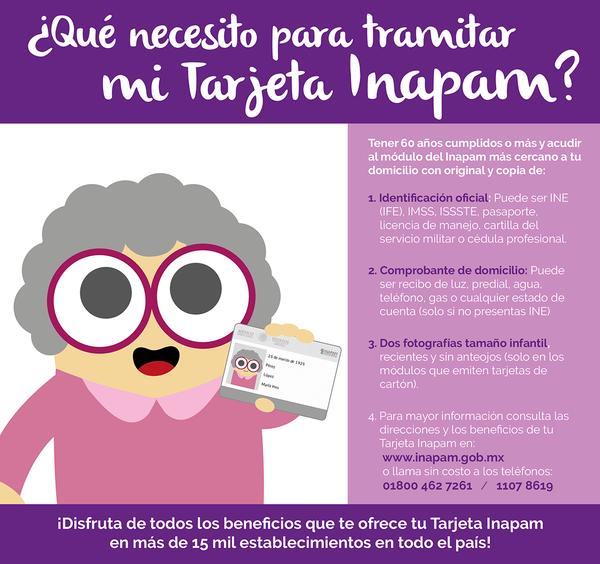 imagen con una persona de la tercera edad señalando requisitos para tramitar tarjeta INAPAM
