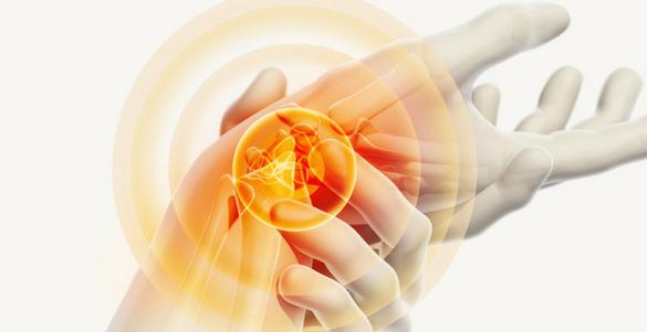 imagen de un par de manos con circulos anaranjados y huesos de la mano