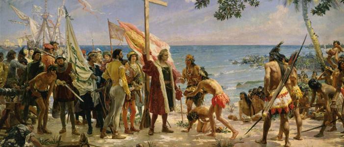 pintura del dia de la conquista se ven conquistadores españoles y nativos de america