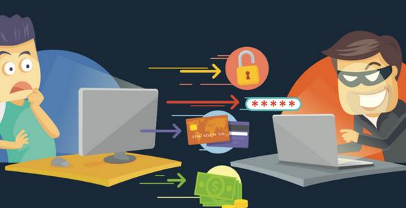 defraudador robando datos personales con su computadora cuidate de los defraudadores