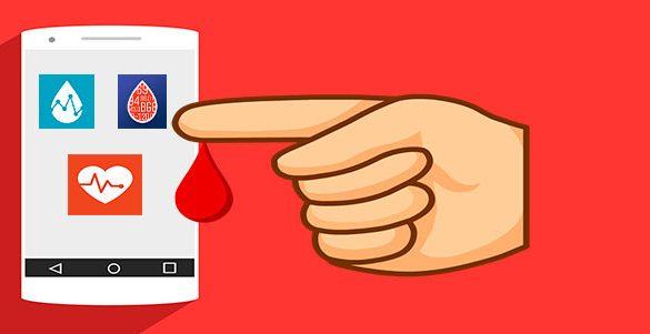 imagen de celular con tres aplicaciones una mano con gota de sangre y fondo rojo