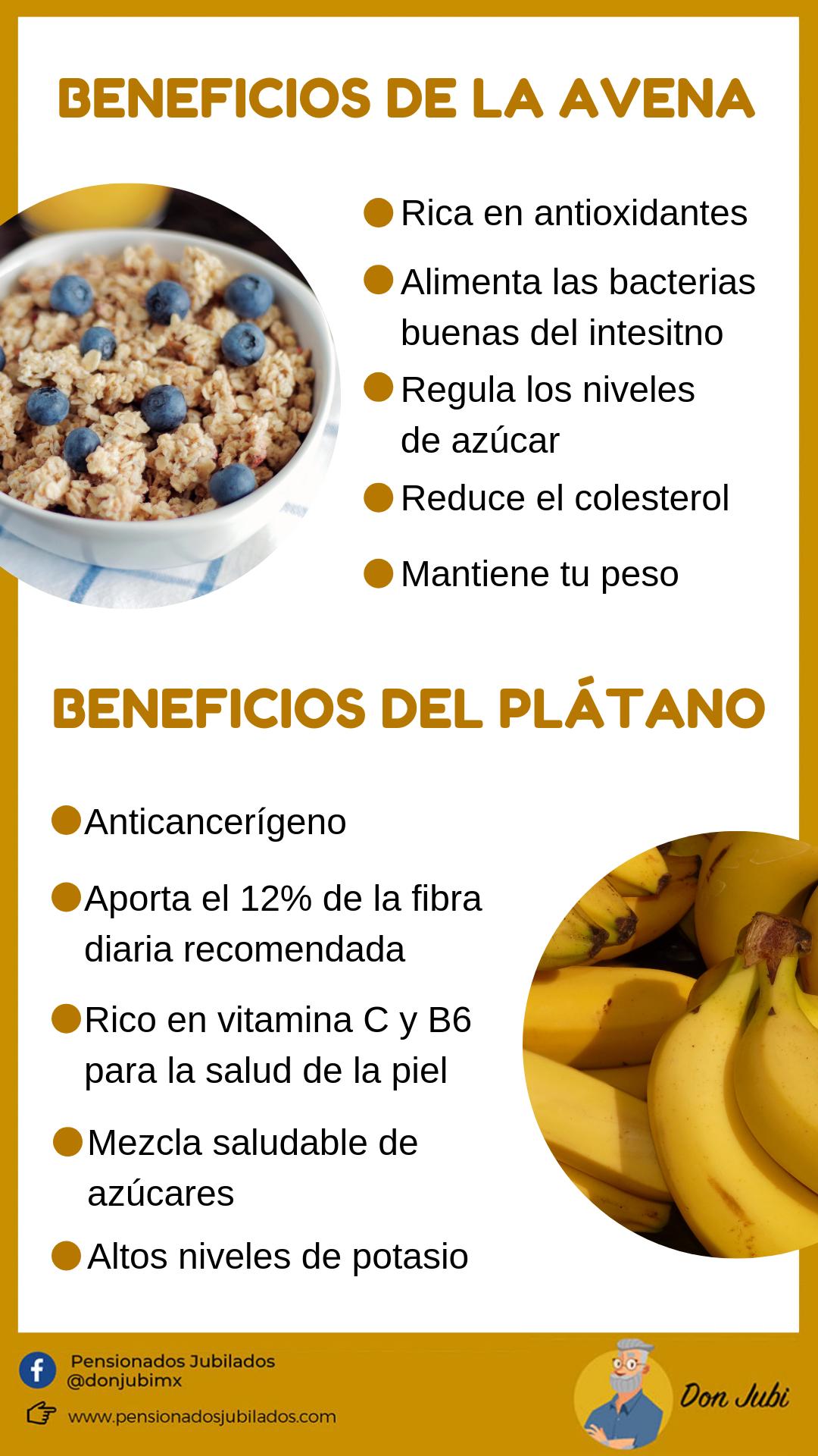 infografia explicando los beneficios de la avena y el platano