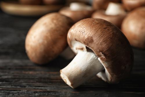 hongos colocados sobre una mesa de madera